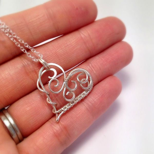 Wire Wrapped Scroll Heart Necklace | Sterling Silver | Handmade wire ...