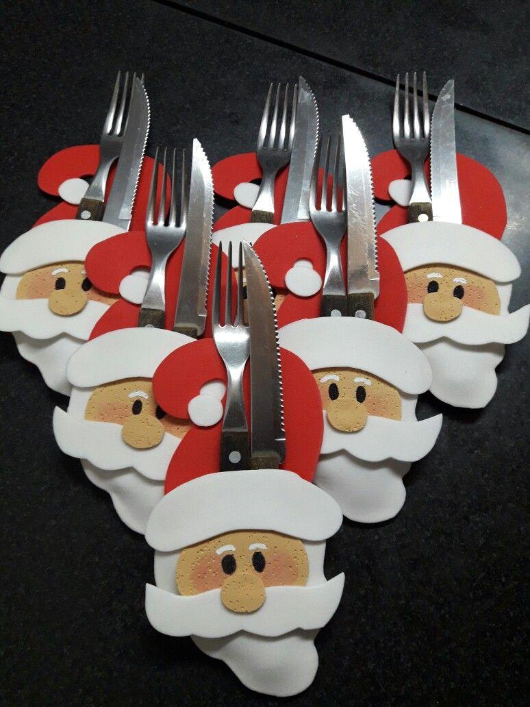 Para decorar nuestras mesas porta cubiertos de papanoel en - Decoracion navidad goma eva ...