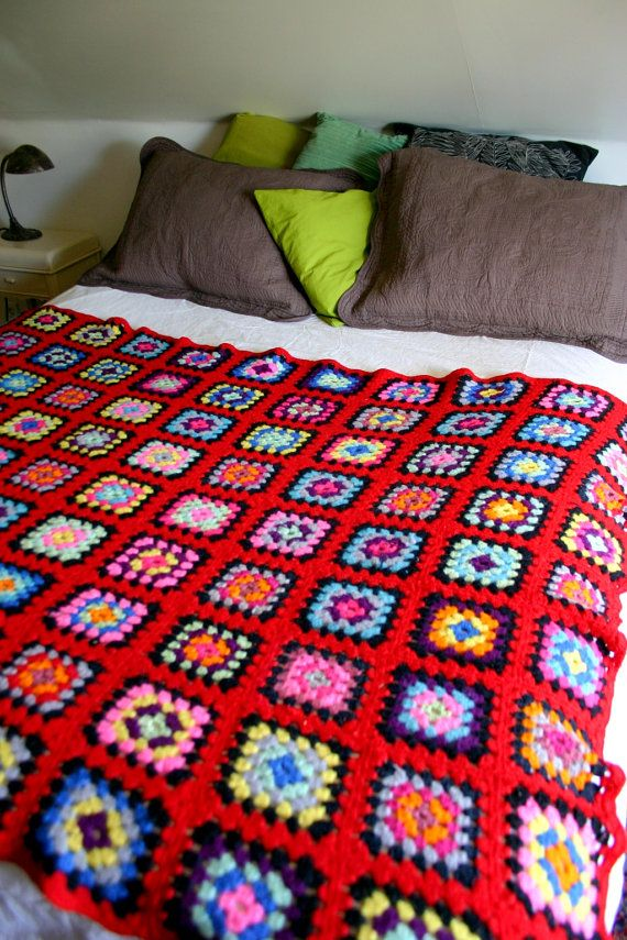 Vintage Classic Crochet Granny Squares Wool Afghan Blanket Crochet