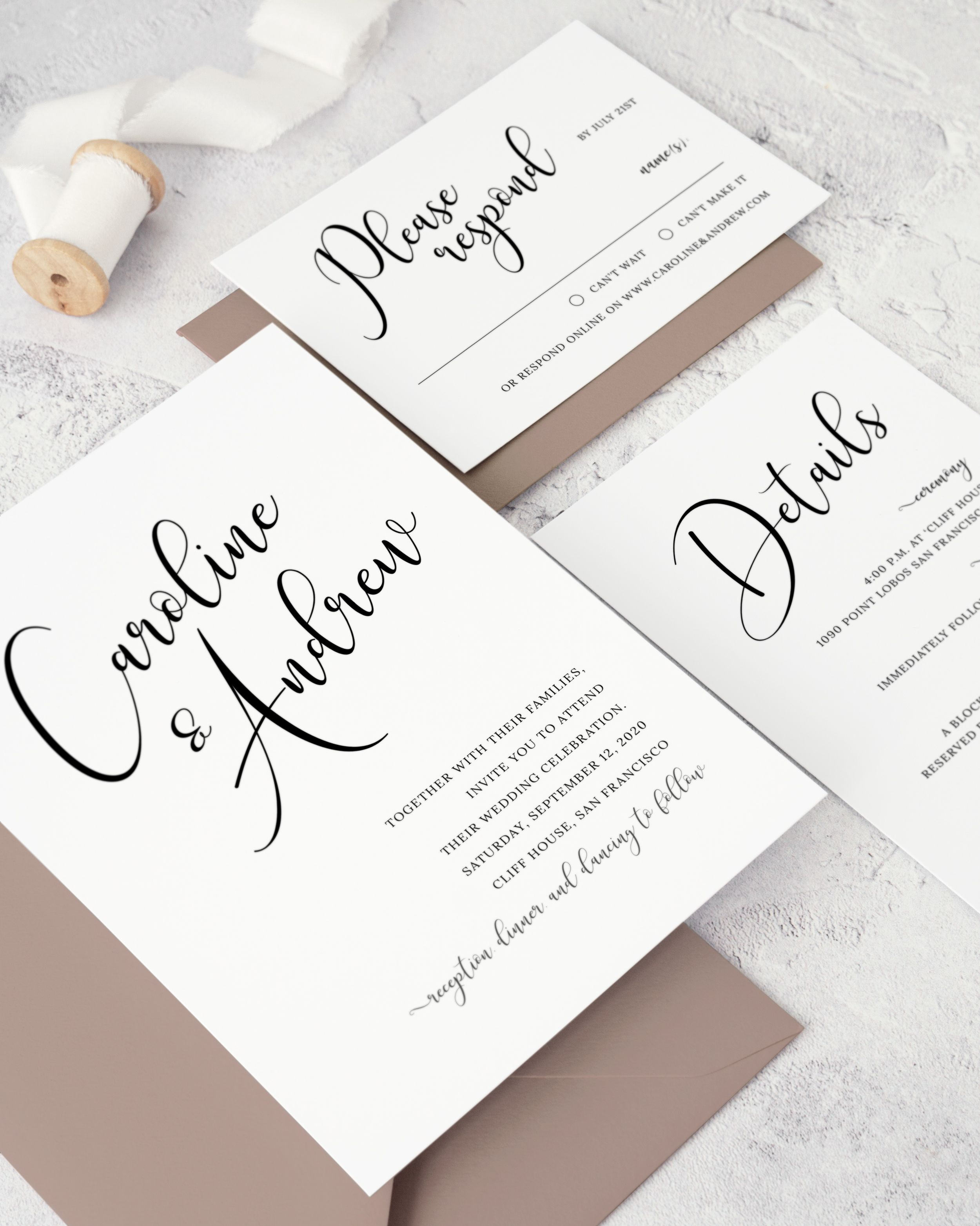 Calligraphy Wedding Invitation Suite. Printable Black and