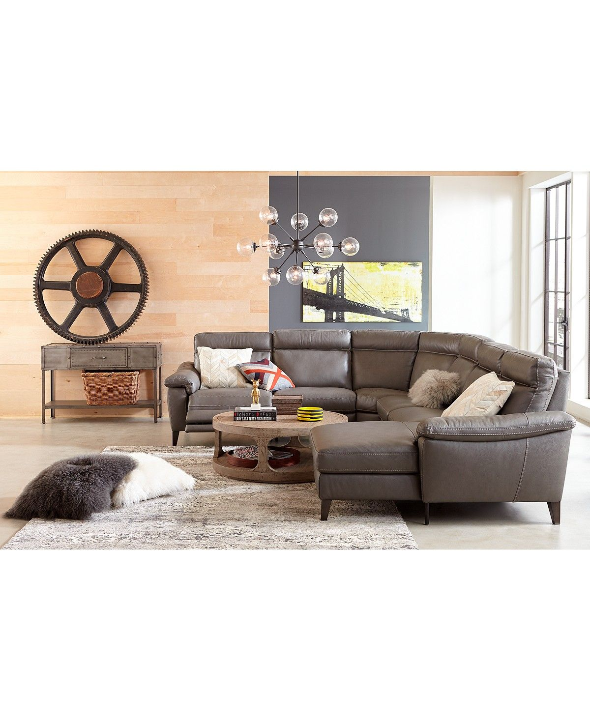 Pirello ii 5 pc l shaped leather sectional sofa with 3 power recliners with power headrests and usb port created for macys furniture macys