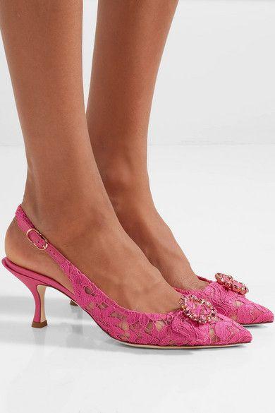 Satin-trimmed Crystal-embellished Corded Lace Slingback Pumps - Pink Dolce & Gabbana 6aP94j