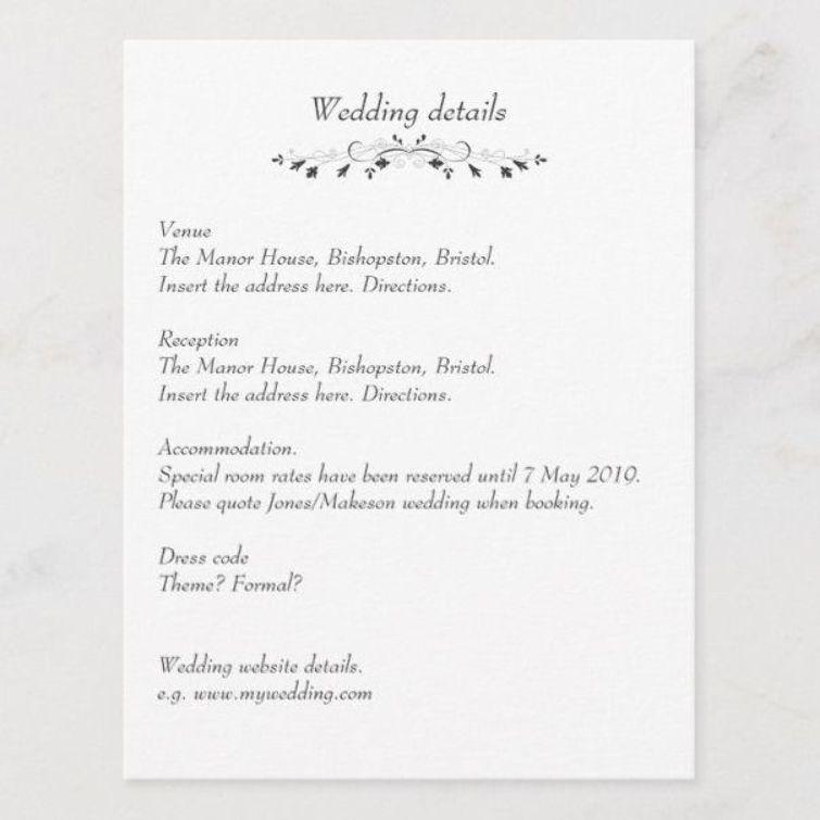 Wedding details insert card wedding invite