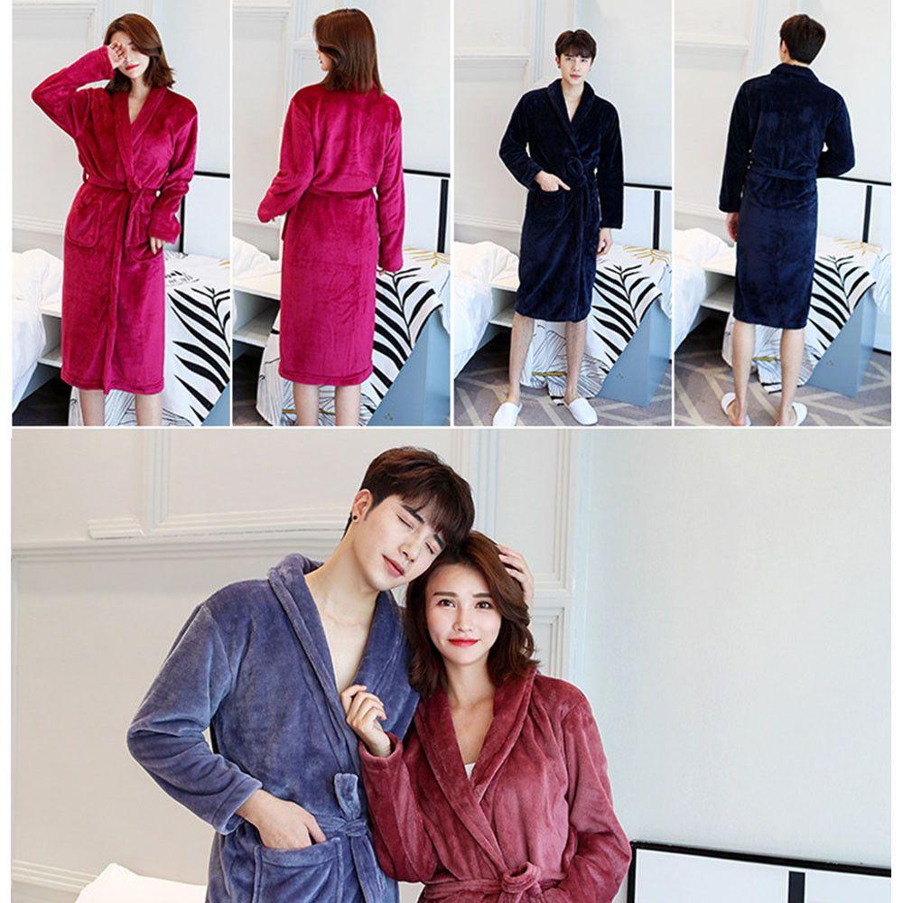 Women Men s Soft Long Sleepwear Robes Shawl Collar Fleece Bathrobe Spa  Pajamas K  Bathrobe  Collar  Fleece  Long  men sactivewear  men sjeans  men spants  ... 4b354d3e4