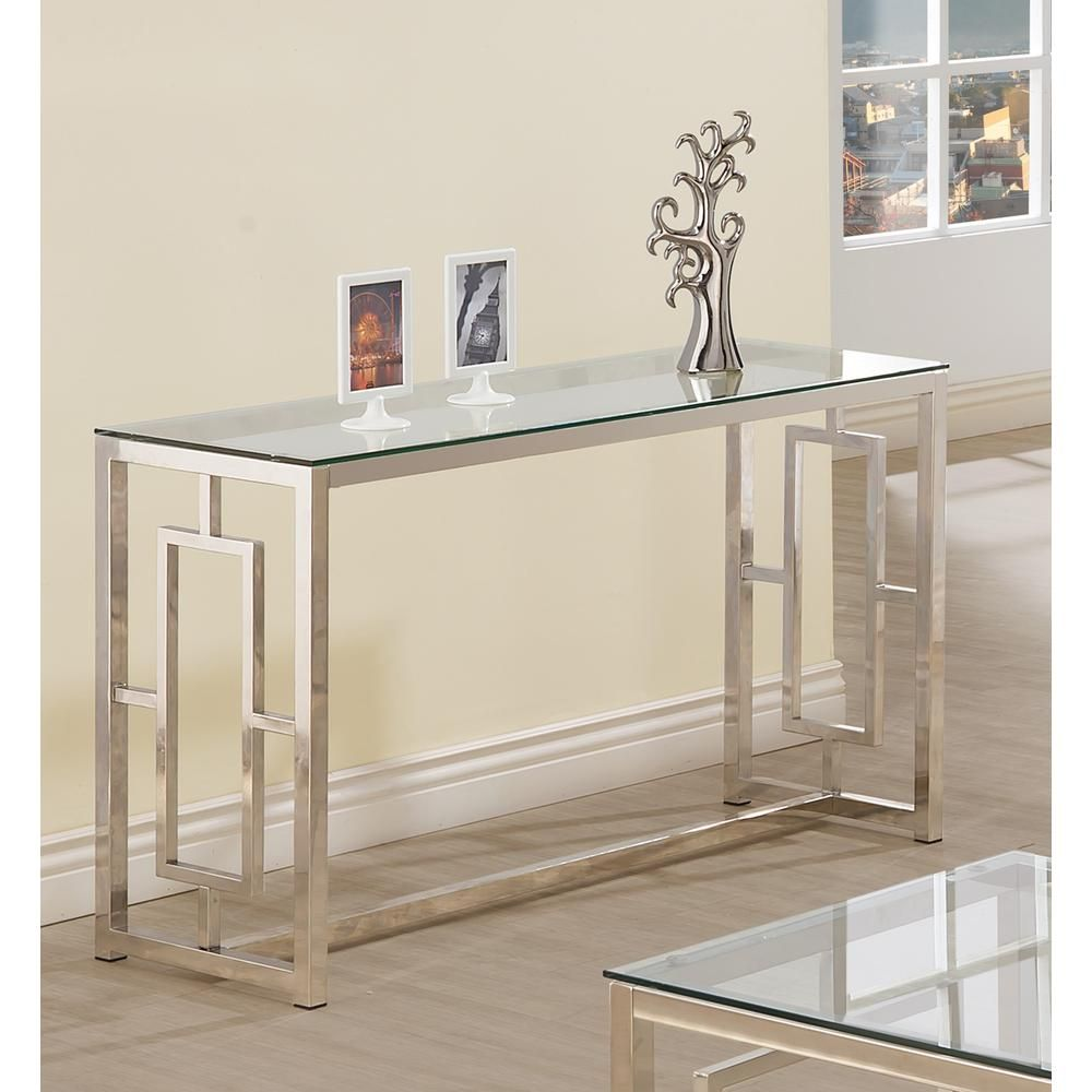 Coaster Cairns Sofa Table With Glass Top And Geometric Motif Nickel And Clear Metal Sofa Contemporary Console Table Foyer Decor