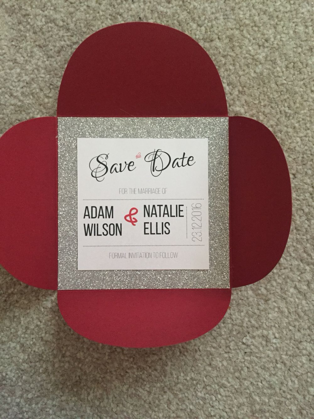 Save the dates! #christmas #glitter #silver #red #handmade | My ...