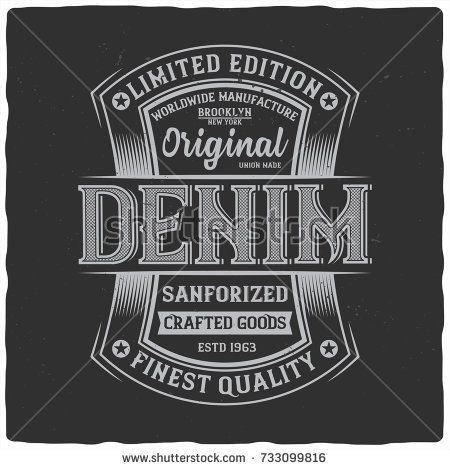 Vintage Label Design With Lettering Composition On Dark Background T Shirt Design Vintage Labels Label Design Letter Composition