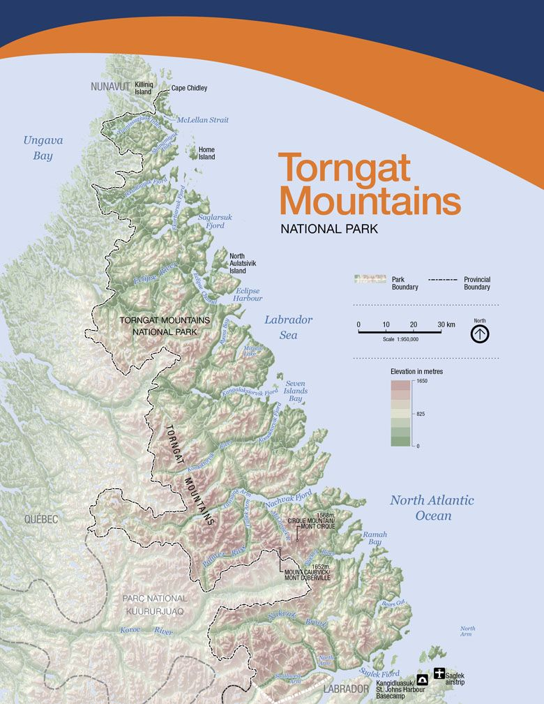 Map Of Torngat Mountains National Park Of Canada Travel