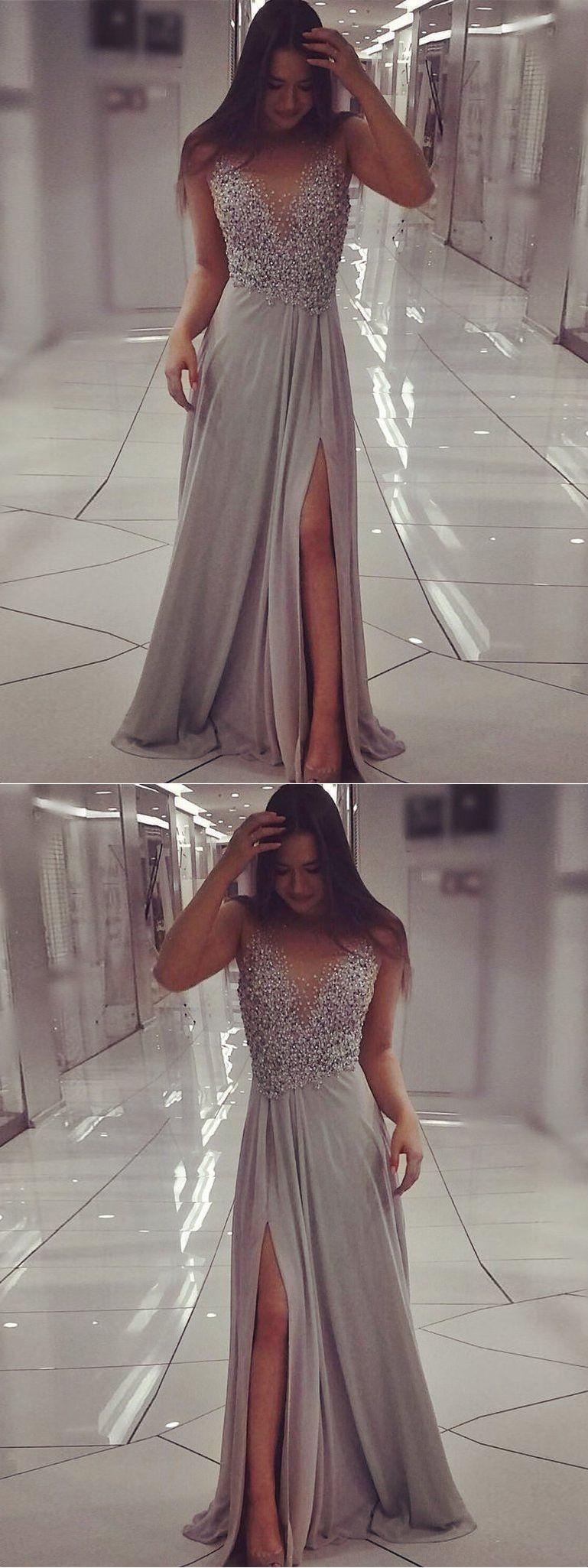 Sexy prom dresses scoop floorlength aline gray chiffon slit long
