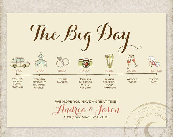 Wedding Timeline Invitations: Printable Wedding Itinerary, Custom Big Day Timeline