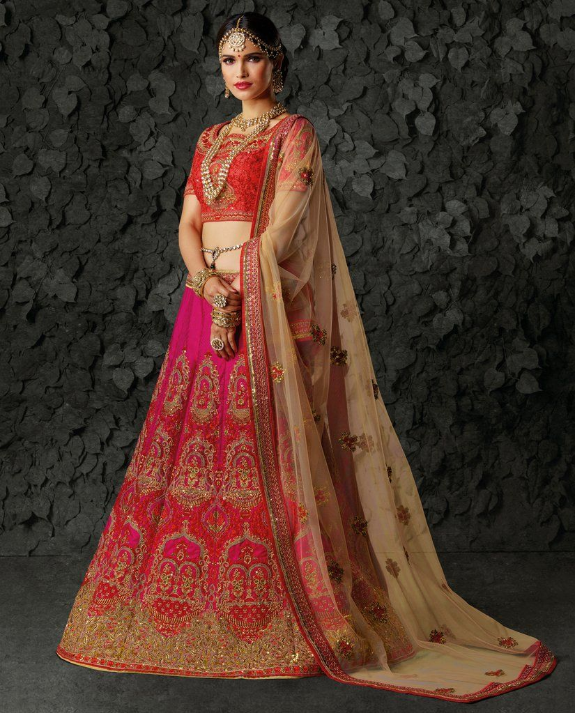 ebe232365e1 Pink Heavy Embroidered Art Silk Bridal Lehenga Choli (Semi-Stitched)   bridal  designer  lehenga  choli  lehengas  Zari  embroidered  rhinestone   stones ...