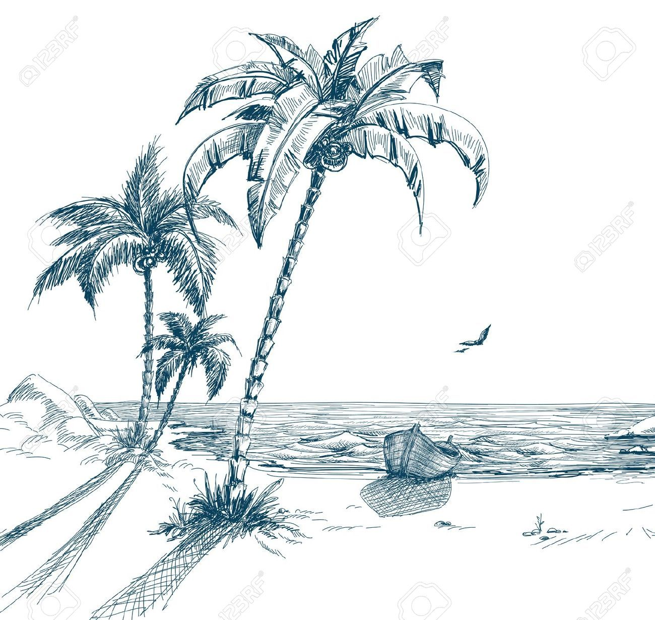 Line Art Beach : Summer beach with palm trees seagulls and boat on