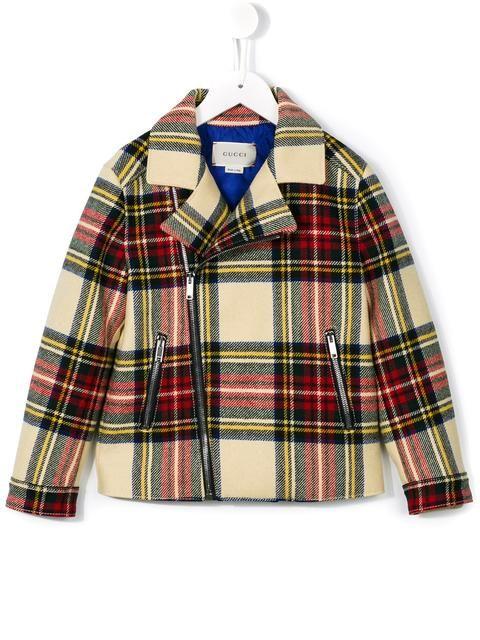 Gucci Kids tartan biker jacket