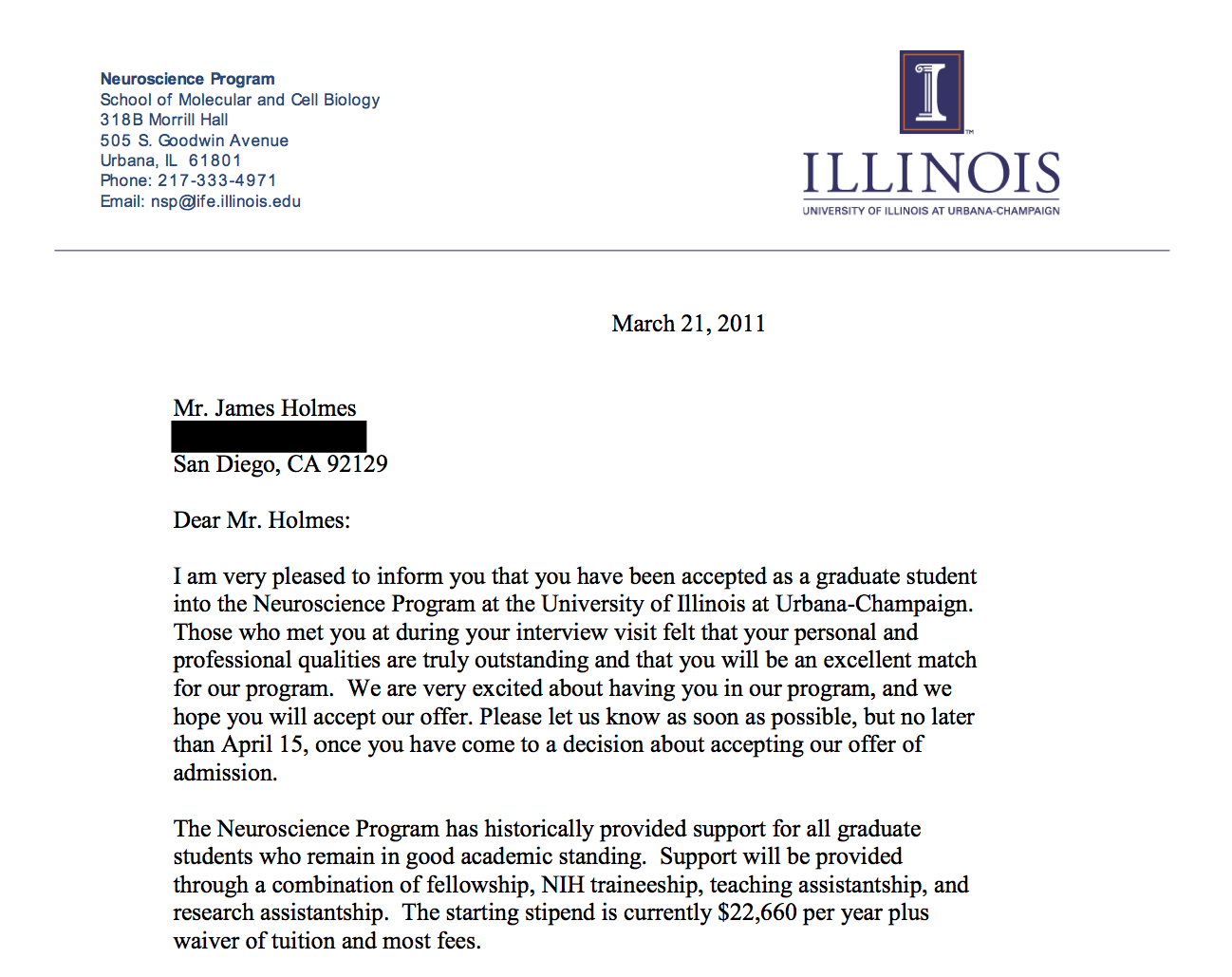 uiuc letter of recommendation