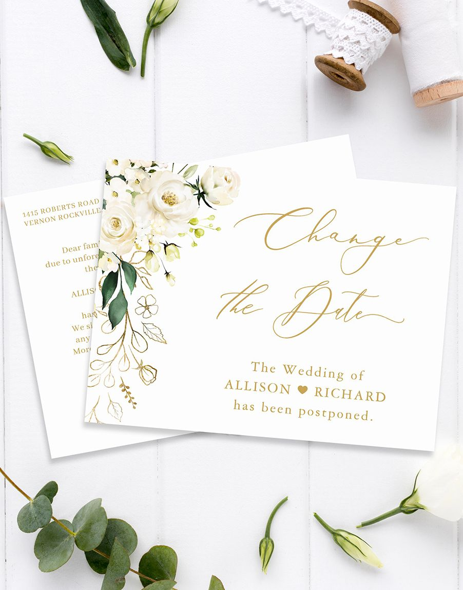 Change the date gold script green and white floral
