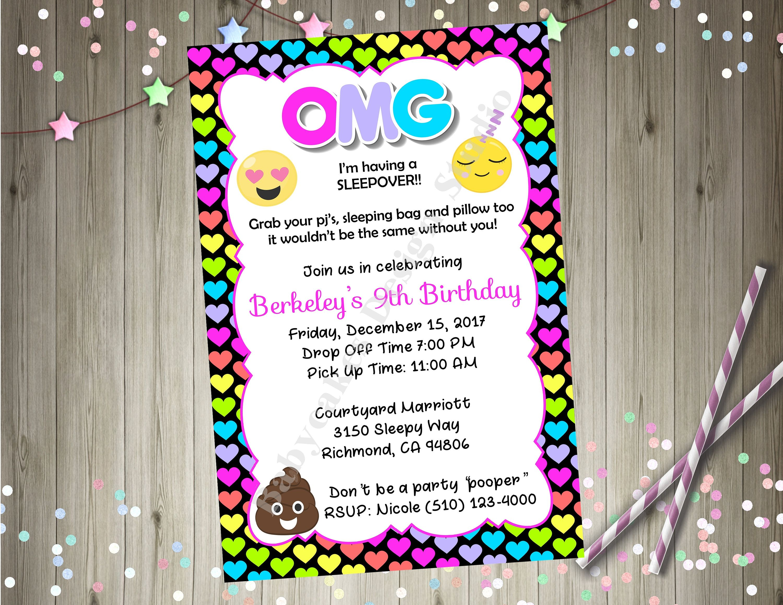 emoji sleepover invitation invite emoji birthday party printable