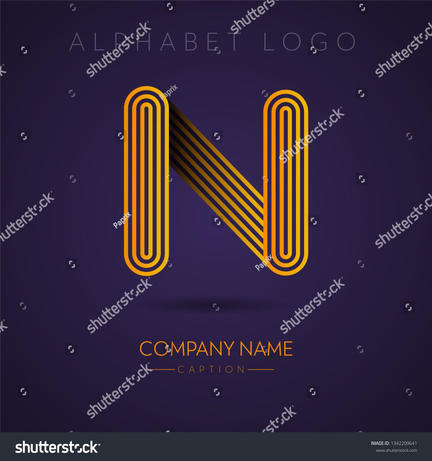 Multi Lines Stylish and Professional gold Letter N Logo