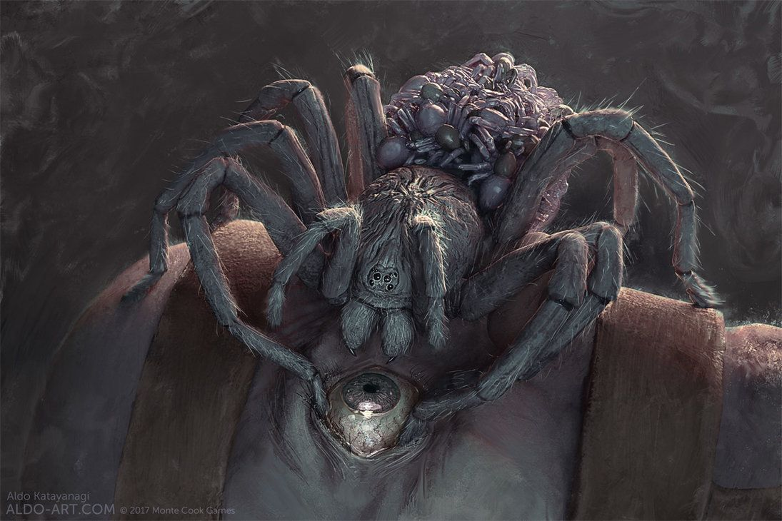 Monte Cook Games Invisible Sun Harvesting Spider By Aldok Scary Art Horror Art Creature Art