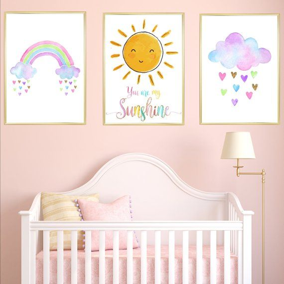 Watercolour Cloud Rainbow Nursery Prints Set Of 3, You are my Sunshine Sun Quote Baby Girl Room Decor Printable Pictures Baby Shower Gift
