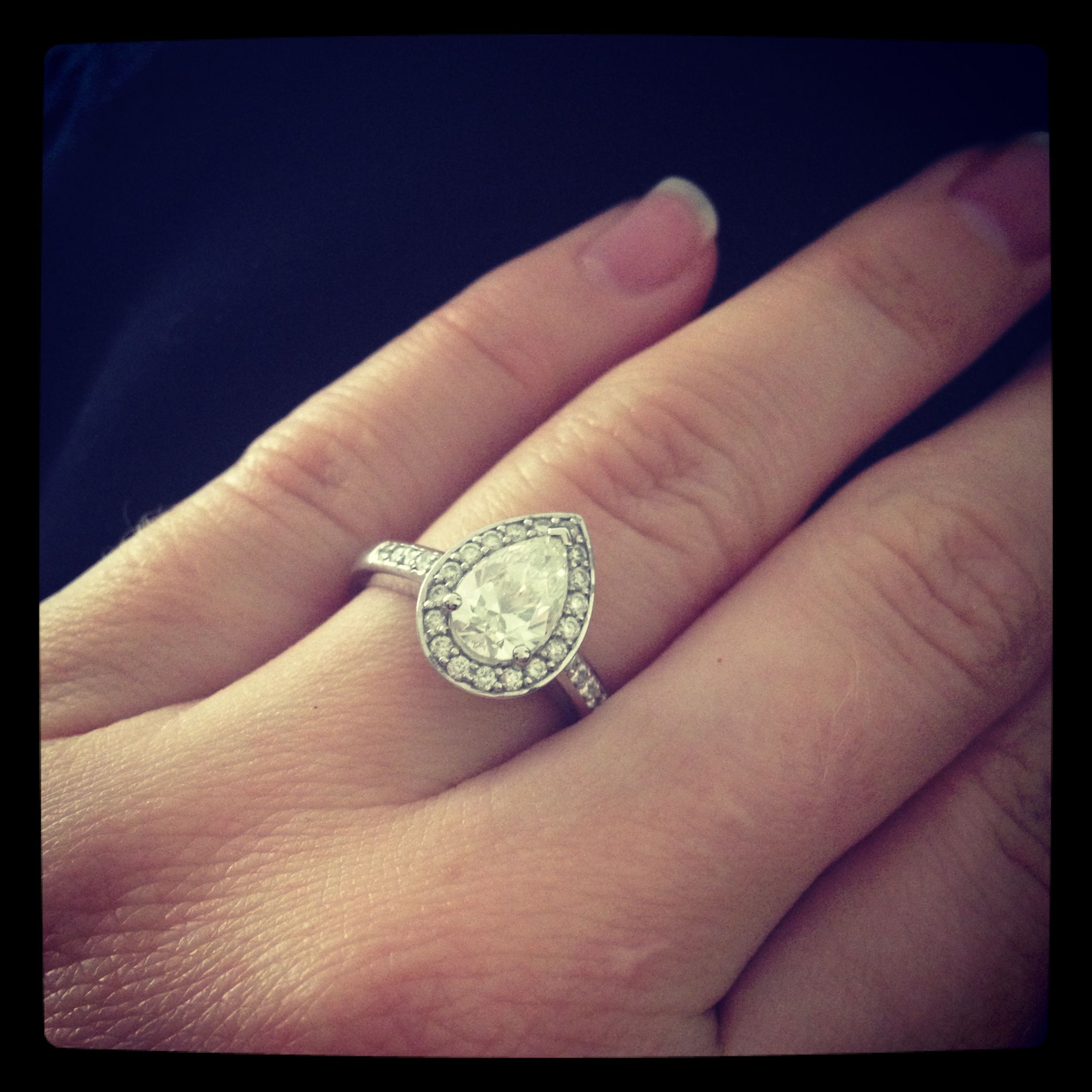My beautiful 1.01 carat pear halo engagement ring. My boy did an ...