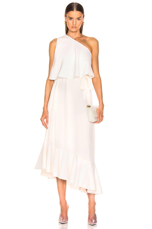 Image 1 Of Stella Mccartney One Shoulder Dress In White One Shoulder Dress Dresses White Dress [ 1440 x 953 Pixel ]