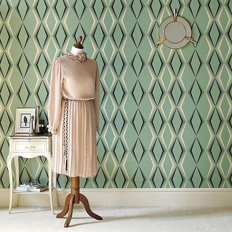 Hemmingway Designs Green Deco Diamond Wallpaper- at Debenhams.com ...