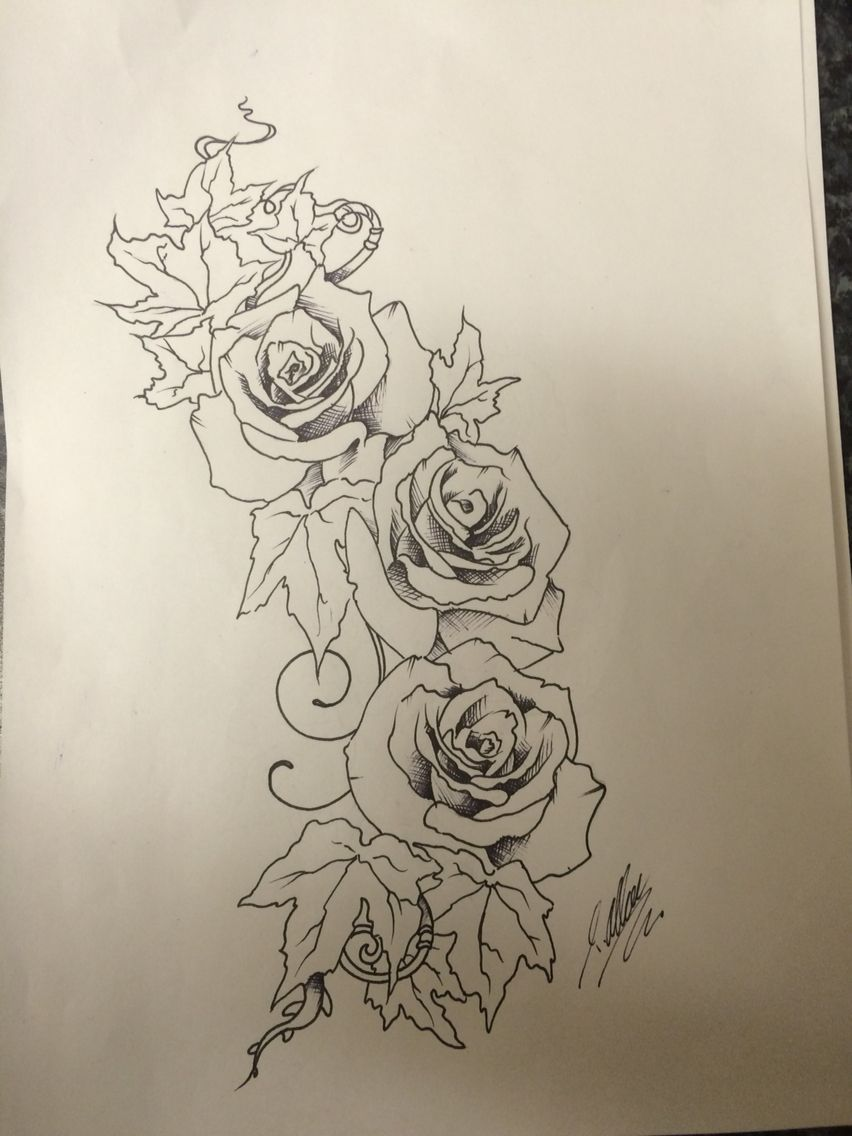 Line Art Rose Tattoo : Rose and ivy pen line drawing tattoo design ready for