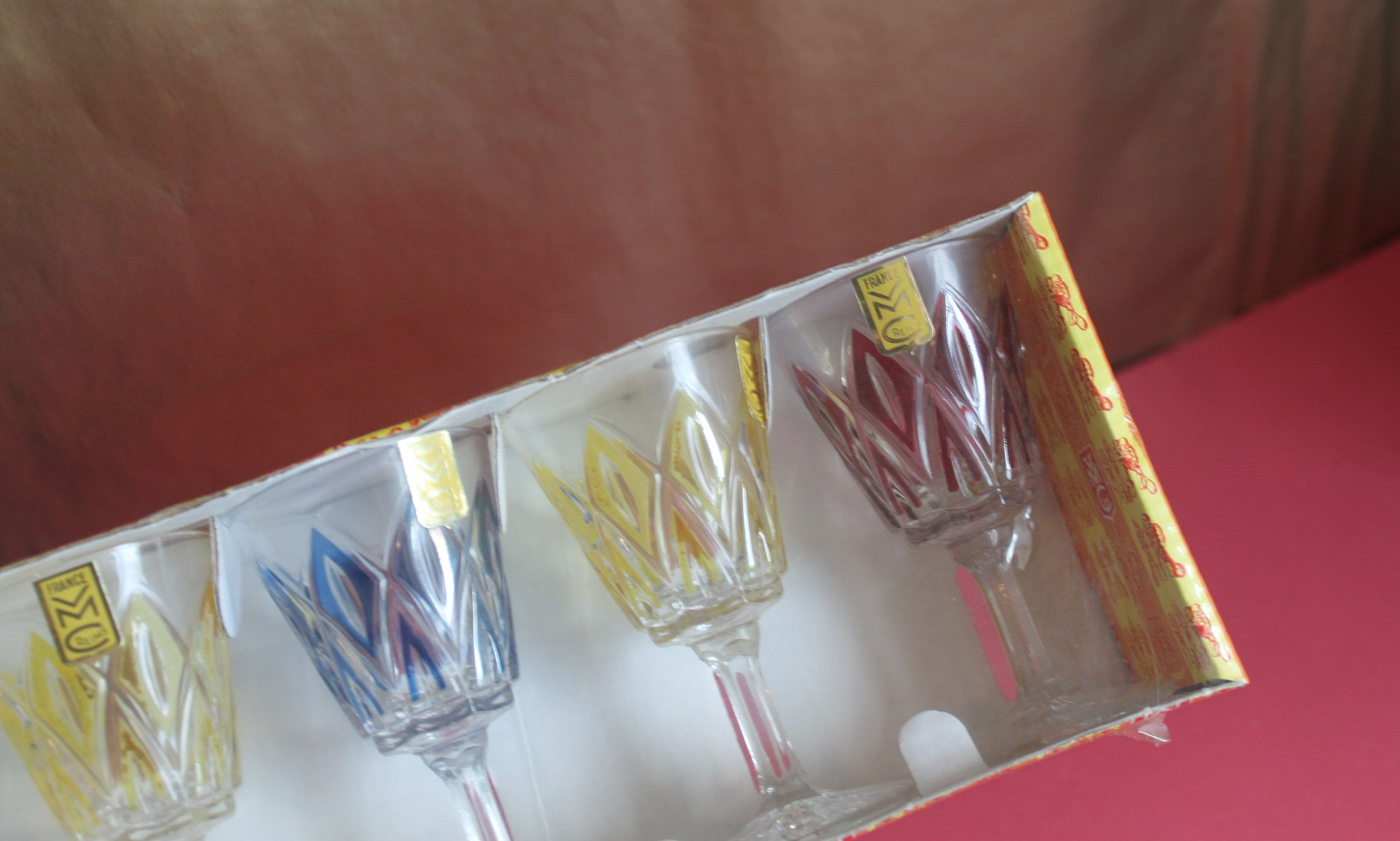 French Set Of Six Wine Glasses By Reims Blue Red Yellow Drinking Glasses Mid Century Design Yellow Drinking Glasses Wine Glasses Champagne Flute