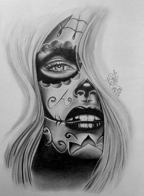 Pin by Sxymexi on day of the dead | Skull girl tattoo ...