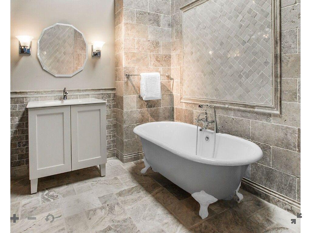 - CLAROS SILVER TUMBLED TRAVERTINE SUBWAY TILE - 3 X 6 IN. $ 10.99 Sq Ft  Coverage 9.83 Sq … Travertine Tile Bathroom, Silver Travertine Tiles,  Travertine Wall Tiles