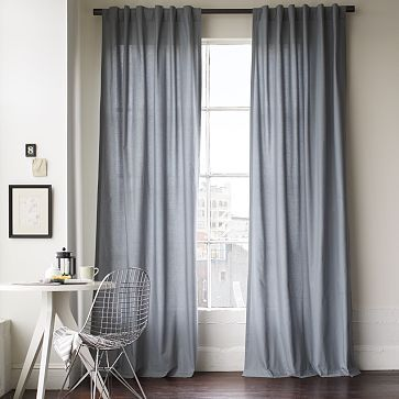 Slate Blue Cotton Curtains On Sale