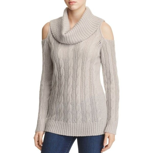 Design History Cold Shoulder Cable-Knit Sweater ($53) ❤ liked on ...