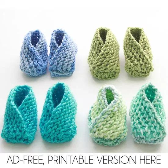 Los botines de bebé más fáciles de tejer: ¡tejido plano sin talón!