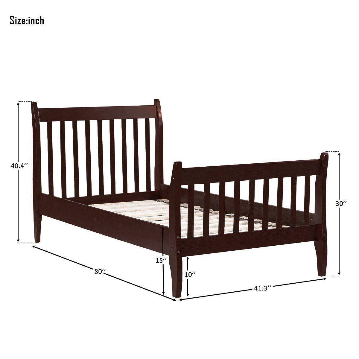 Bed Frame Twin Dark Wood OakJULYFOX Modern White Bed Frame And