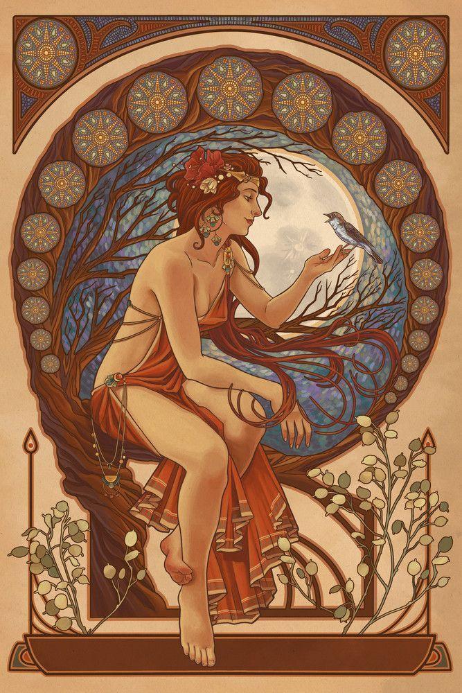 Photo of Woman and Bird – Art Nouveau – Lantern Press Artwork