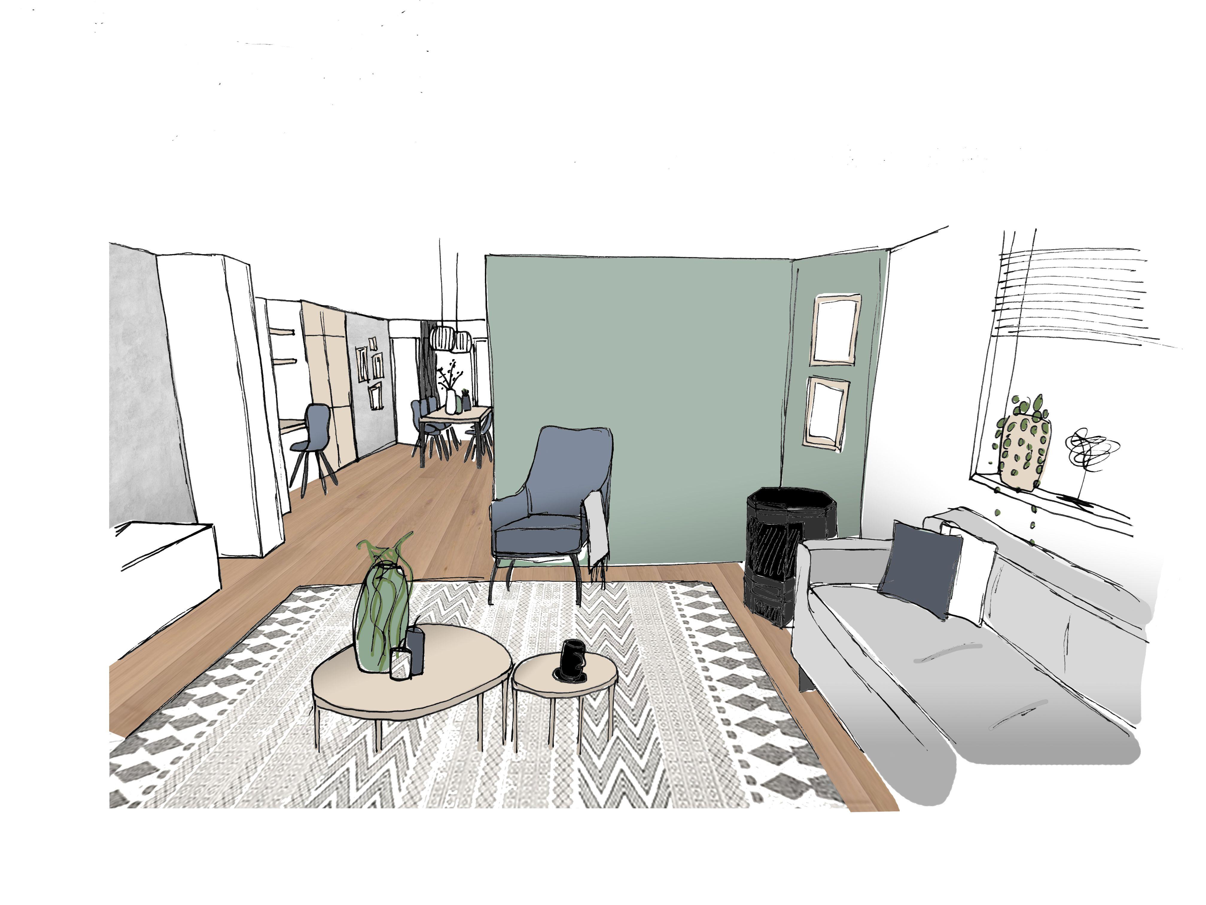 3d Visualisatie Interieuradvies Van De Woonkamer Met Een Groene Muur Betonlook Warm Hout En Een Pracht Interieur Woonkamer Modern Meubeldesign Huis Interieur