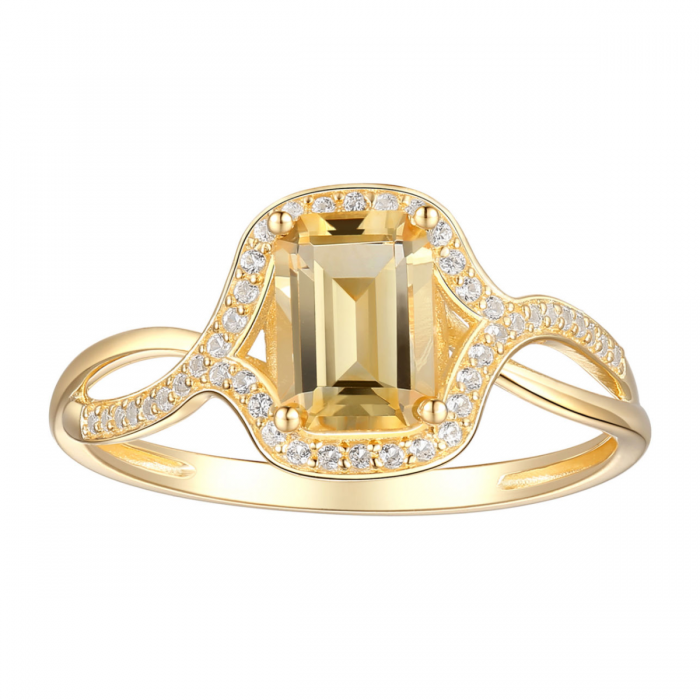 10k Yellow Gold Citrine And Lab Created White Sapphire Ring Gold Cocktail Ring White Sapphire Ring Gold Cocktail