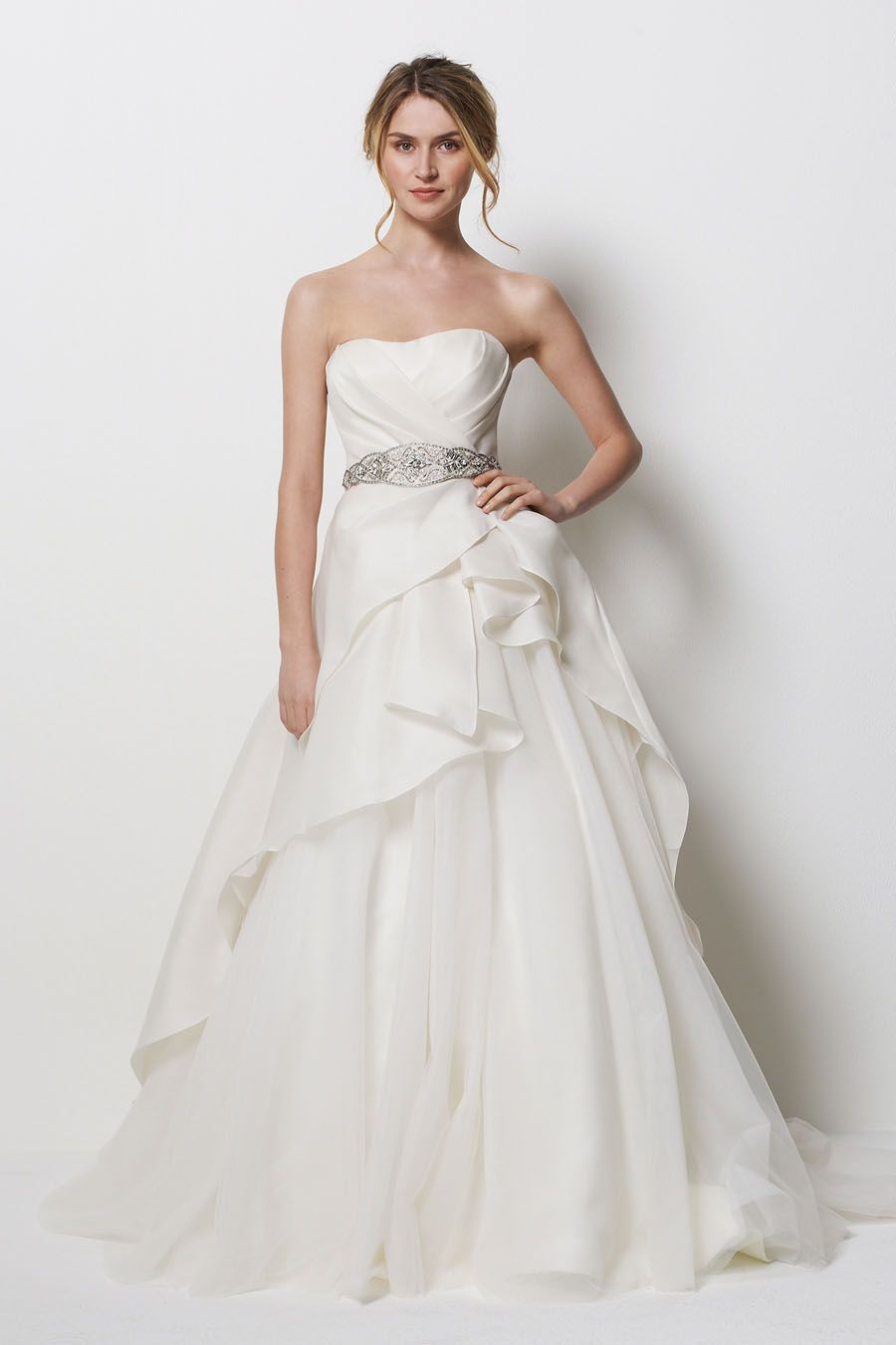 The romantic A-line strapless scoop neck white satin and chiffon floor-length chapel train wedding dress with the natural ruches bodice and the beading sash matching the puff skirt