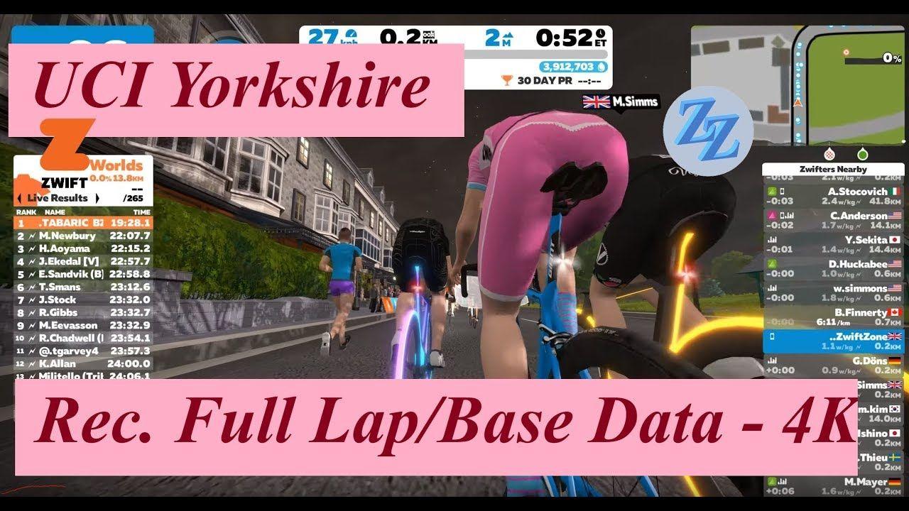 Zwiftzone 4k Uci Yorkshire Full Rec Lap Laying Down Base Data Yorkshire Rec