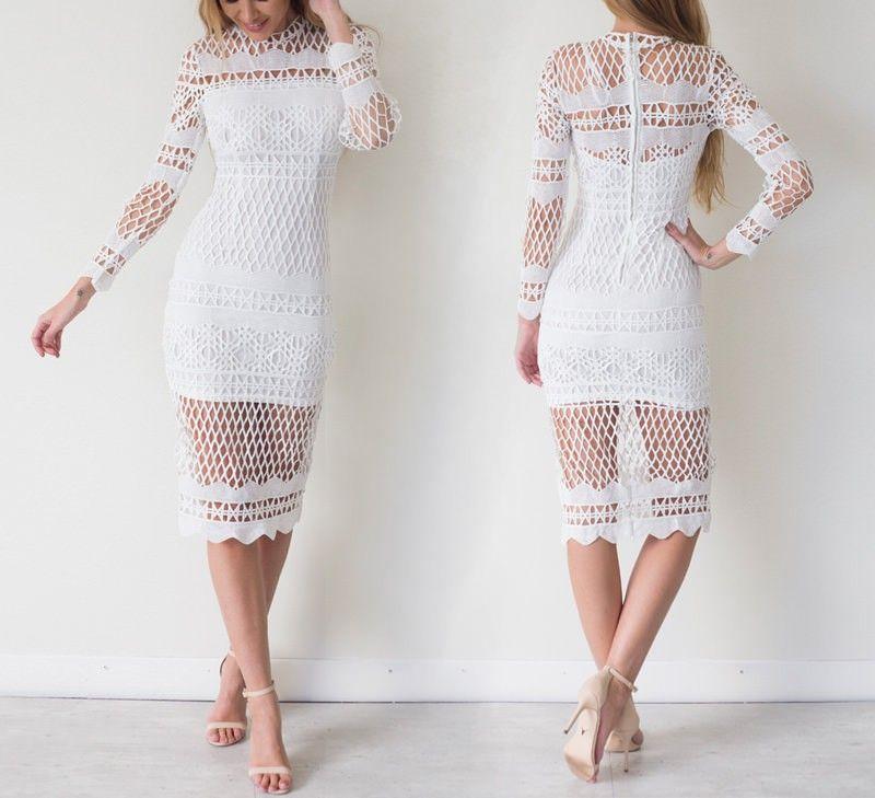 Crochet Tea Length Casual Dresses