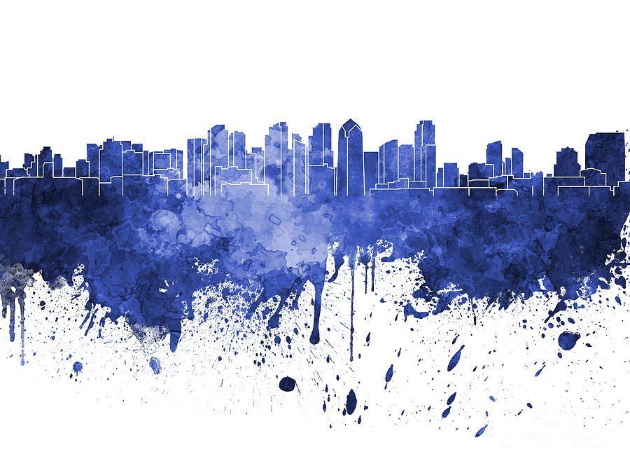 San Diego Skyline In Blue Watercolor On White Background By Pablo Romero San Diego Skyline Blue Watercolor Skyline