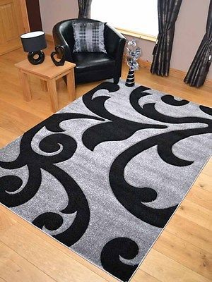 New Light Silver Grey Black Modern Soft Thick Rugs Small Extra Large Mats