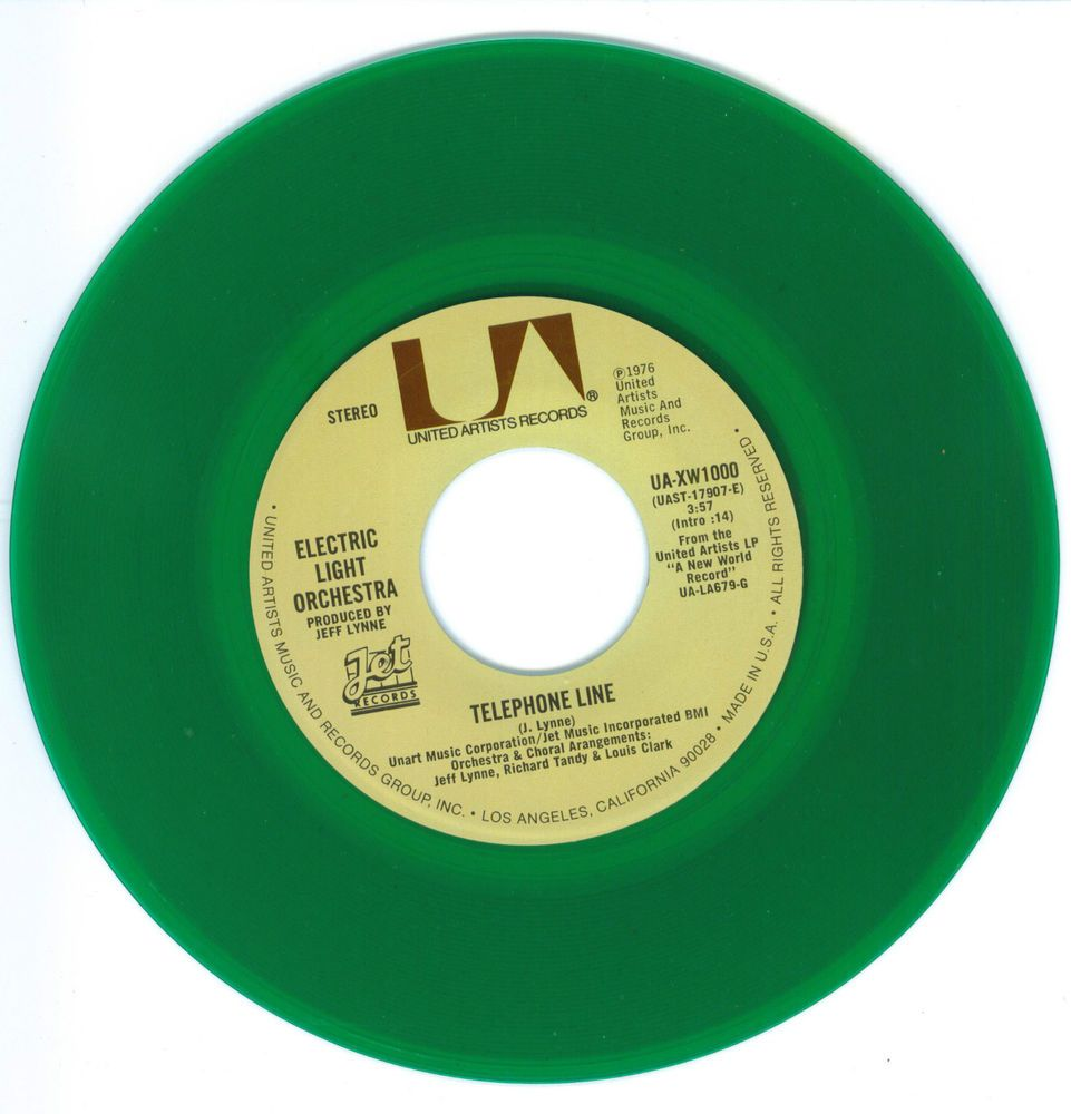Electric Light Orchestra Telephone Line 45 Rpm Record Green Vinyl Elo 45 Rpm Record 45 Rpm Records