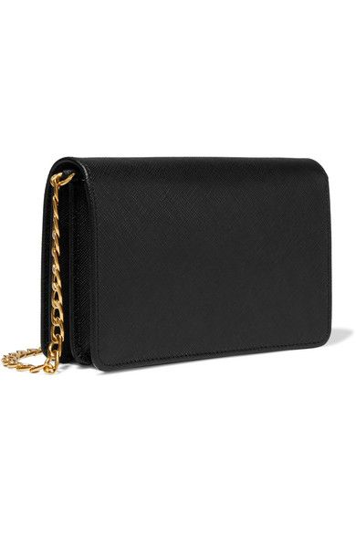 802d08cf017f Prada Wallet On A Chain Textured-leather Shoulder Bag - Black in ...