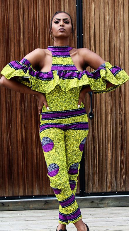 025459f1 Amope Ankara African Wax Print Off Shoulder Turtle Neck Jumpsuit ...