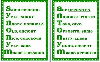 synonym/antonym posters free...would be even better with two ...