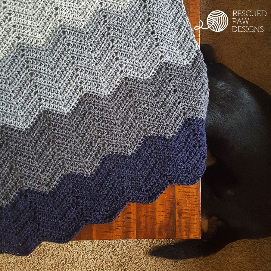 Ombre Ripple Crochet Blanket Pattern by Rescued Paw Designs | Pinterest
