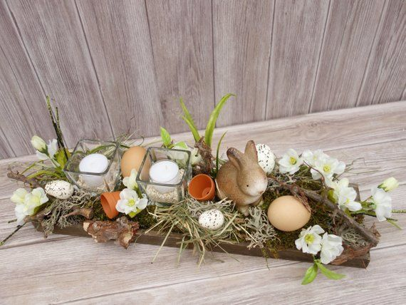 Photo of Easter decoration table decoration Easter spring table decoration Easter arrangement Spring decoration Easter candle Easter wreath