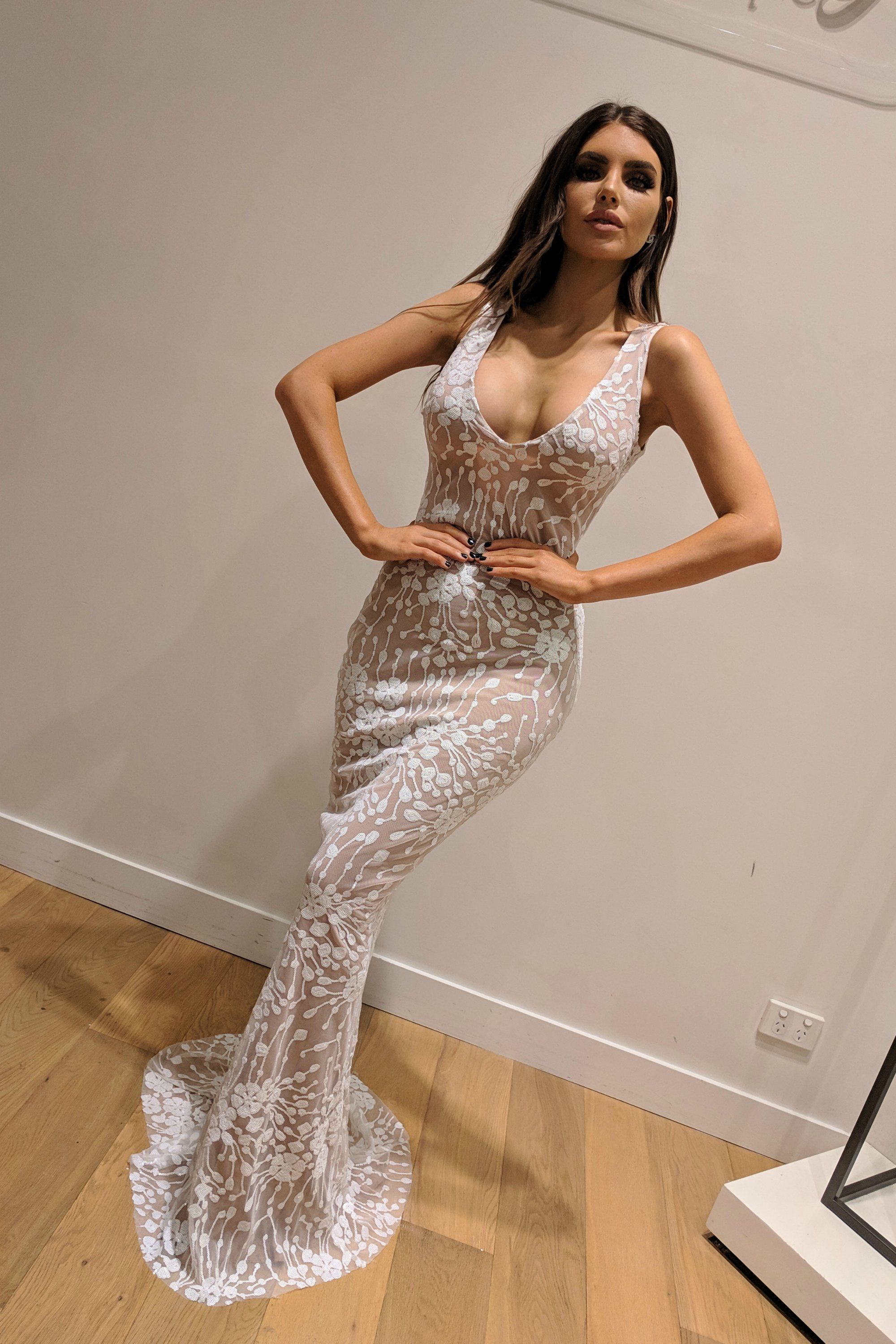 22f5eb617c1a Honey Couture AVA White Nude Sequin Lace Effect Mermaid Dress | NEW ...