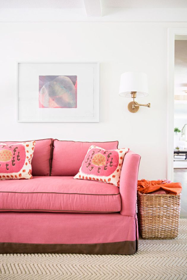 Fresh and Fun, Pink Sofa. Pillow Fabric: Samarkand Pompeian Dusty ...